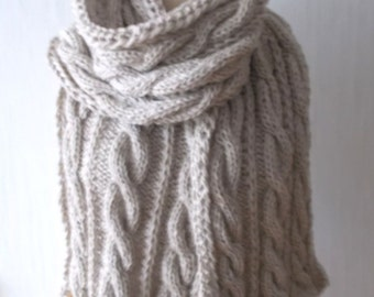 Chunky Scarf Handknit Big Cowl Extra Thick Cabled Soft  in Natural White Beige Winter Accessory