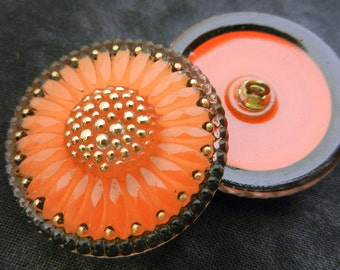 Czech Glass Buttons Bright Tangerine Orange Gold Sunburst Sewing Knitting Crochet Shank Button Supplies