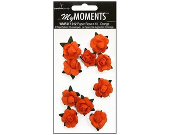 My Moments Paper Roses Scrapbooking Crafting Embellishments Orange  Flowers Blossoms