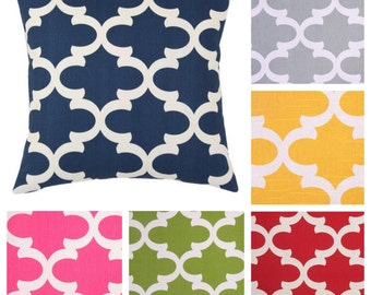 Modern Fretwork Decorative Pillow Cover - 3 Sizes Available - Six Colors Available