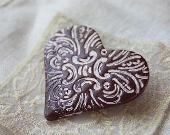 Brooch / Deep Burgundy Etched Zephyr Heart / Handmade Valentine's Day Jewelry Jewellery