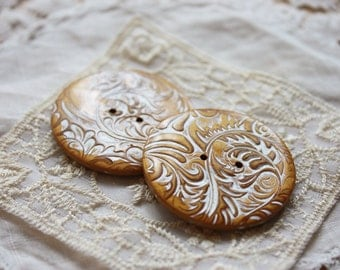 Handmade Buttons / Antique Gold Delicate Filigree / Handcrafted Polymer Clay Button