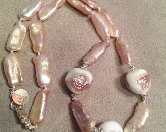 Freshwater Stick  Pearls and Vintage Japanese Bead - Necklace