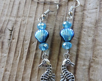 Silver Seahorse and Seashells with Crystals Dangling Charm Earrings