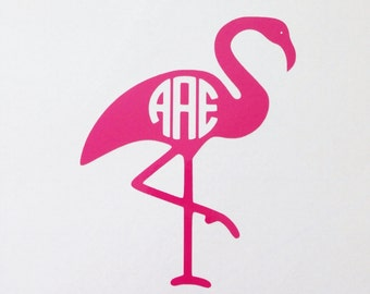 Flamingo MONOGRAM decal car wall Nautical ocean beach circle Initial vinyl DIY vine Pink bird