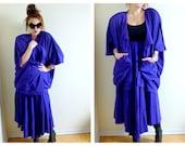 Vintage Couture Purple Cardigan, Skirt- La Rue Des Reves, Couture, 80s, Medium, Large, XL, Avant Garde
