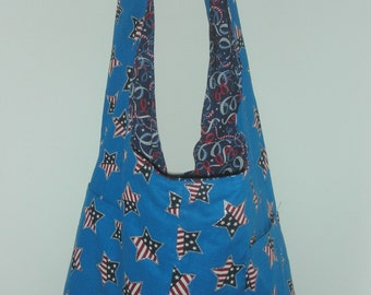 Patriotic American Tote Bag with  Stars... Reversible