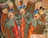 Primitive Carrot Bunny Ornies Bowl Fillers Pattern 274