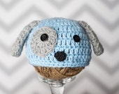 Puppy dog crochet baby hat - made to order