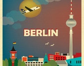 Berlin Skyline Art Print, Berlin Poster, Berlin city map,  Germany Travel Poster, Berlin Wall Decor, Loose Petals City Art Print  E8-O-BER