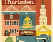 Charleston SC Art, Charleston SC map, Charelston sc skyline print, Charleston Rainbow Row art print, Charelston sc art - style E8-O-CHARL
