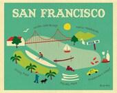 San Francisco Map, San Francisco Art, San Francisco Wall Art, San Francisco Skyline , SF CA Art Print, SF Marina Print, 8 x 10 - style O-SF8