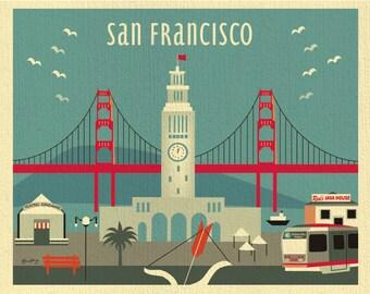 San Francisco Art Print, San Francisco Skyline Wall Art, Decor, Ferry Building Print, SF Art Gift, Loose Petals City Print, style-E8-O-SF13