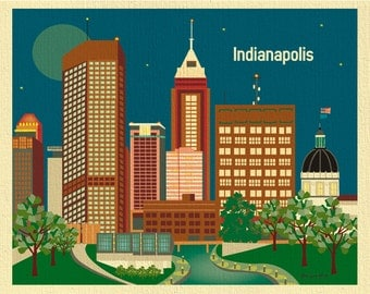 Indianapolis Art Print, Indianapolis Skyline, Indianapolis horizontal map, Indianapolis Nursery, Loose Petals city art, style E8-O-IND2