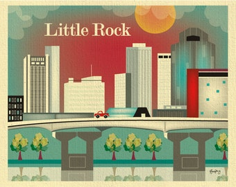 Little Rock, Arkansas Skyline, Little Rock Print, Arkansas Print,  Little Rock Artwork,  Little Rock Gift, Loose Petals Art -  style E8-O-LR
