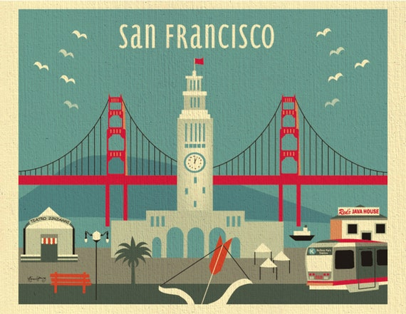 San Francisco Art Print, San Francisco Skyline Wall Art, Decor, Ferry  Building Print