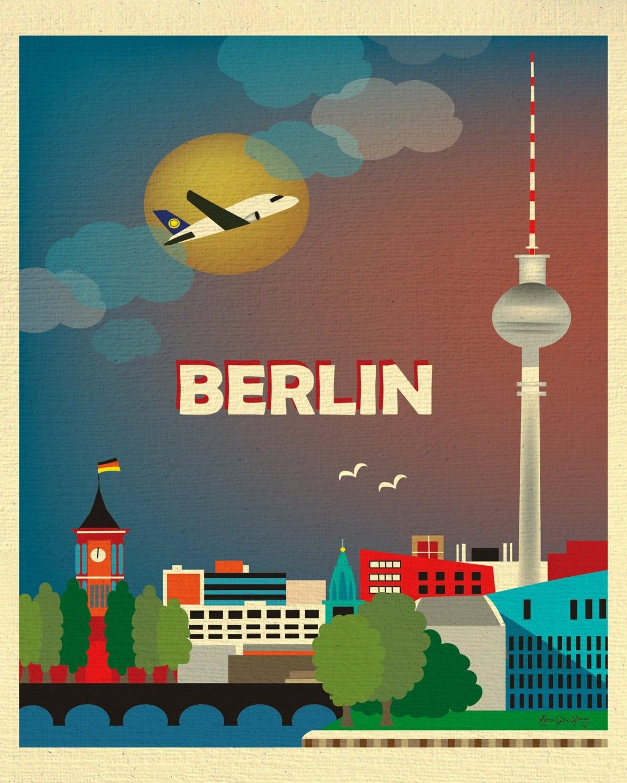 Berlin Skyline Art Print Berlin Poster Berlin City Map