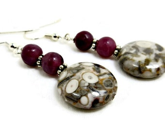 Agatized Fossil Coral Bead & Purple Stone Round Beads Earrings
