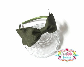 Girls Headband, Toddler Headbands, Olive Green Bow Headband, Hair Accessories, Green Headband with Bow, Green Hair Bow on Hard Headband
