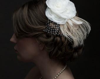 Ivory Bridal Hair Piece, Ivory Hair Clip, Ivory Fascinator, Peacock Wedding, Ivory Bridal Accessories, Ivory Wedding Accessories Baylee