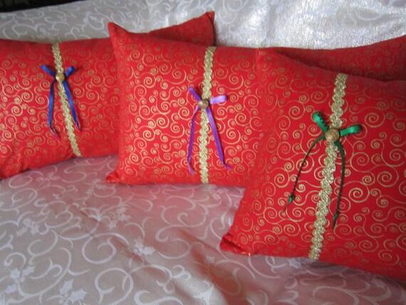 Christmas Present Design Pillows - Lumbar Style - Home Decor Pillows - CHOICE - Red Gold Swirls
