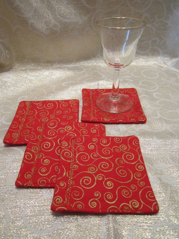 Fabric Drink Coasters Mug Rugs - Red with Gold Spirals - Christmas Decor - Set of 4