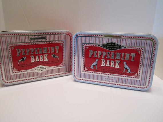Peppermint Bark Candy Tins by Williams Sonoma 1999 - Set of 2
