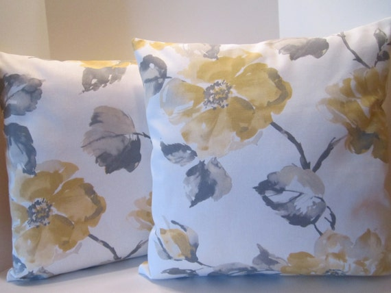 Pillow Covers - Yellow Gray Botanical Flower Decorator Fabric - Garden Decor Design - 18 Inch Square