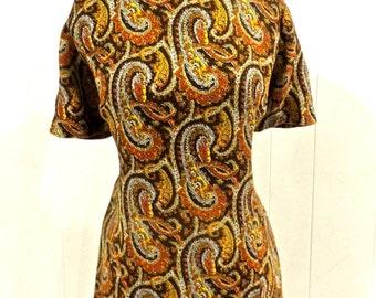 vintage paisley dress - 1960s pleat skirt mod dress