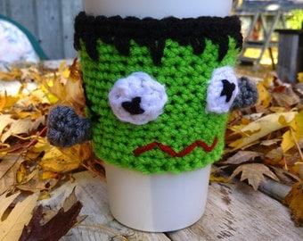 FRANKENSTEIN Crochet Cup Cozy ~ Coffee Mug Sleeve ~ Frankenstein Crochet ~Mug Warmer ~ Crochet Coffee Cozy