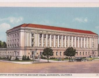 Sacramento California United States Post Office and Court House - Sacramento California Postcard CA Souvenir - Vintage Linen Postcard