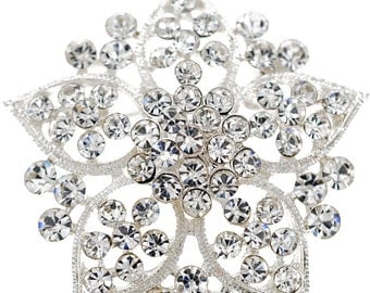 Crystal Flower Wedding Pin 1004042