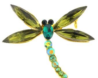 Green Dragonfly Crystal Pin Brooch 1010025