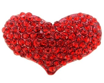 Red Heart Crystal  Pin Brooch 1000232
