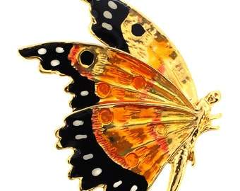 Golden Enamel Flying Butterfly Pin Brooch 1013002