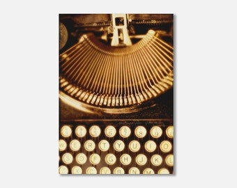 typewriter photograph, canvas gallery wrap, still life photo, vintage Remington, office decor, loft decor, industrial, black brown, wall art