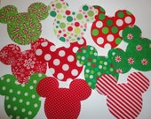 10 Iron On Fabric Applique CHRISTMAS Themed MICKEY Or MINNIE Mouse Appliques