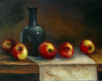 Apples still life framed oil painting 5x7 inches by Alexandra Kopp