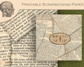 Printable Digital Graphics Scrapbooking Paper Antique Papers Newspaper Clippings Background Steampunk Paper Ephemera