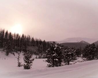 Winter Sun Set Photograph, Winter Solstace Photograph, Art, Photograph, Landscape, Sun Setting On Winter, Pink, Snow, Rocky Mountain Sun Set