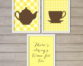 There's Always Time for Tea Kitchen Wall Art Printable- Set of 3 - Plaid Yellow Checkers - 8x10 - Instant Download Pot Cup Poster Home Decor