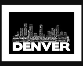 Denver Skyline 2 - Word Art Typography Black and White - Typographical Print Poster