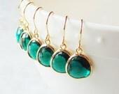 Emerald earrings Gift Dangle earrings Emerald green glass earrings Bridal earrings Bridesmaids earrings Gift For Her Bridal Gift Wedding