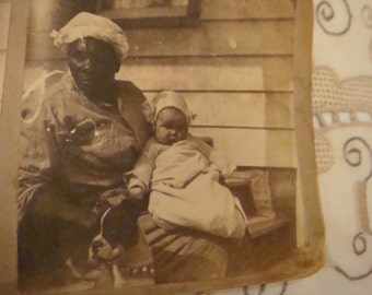SALE*Rare Wonderful Antique Vintage Photo Stereoview African American Baby Pit Bull Puppy Awesome Image