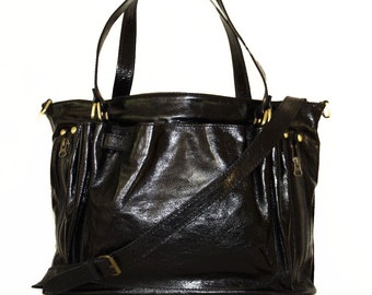 Distressed Black Leather handbag tote purse cross body bag Rachel