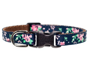 "Cat Collar - ""The Shabby Chic"" - Pink Flowers on Navy"