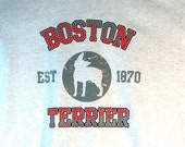 Unisex T Shirt  Boston Terrier Dog Puff Art Applique Dog Print Free Shipping to USA 17394
