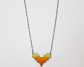 Long geometric layering necklace Yellow orange tribal pendant Colorful copper enamel jewelry On sale Bohemian jewelry