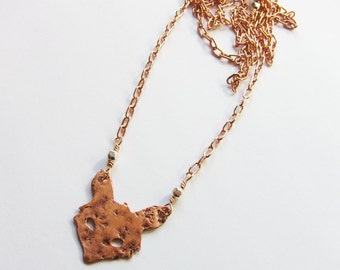 Tiny rustic boho fox necklace Long rose gold layer necklace Bohemian jewelry Small layering chic copper pendant