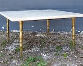 Vintage Hollywood Regency Marble Coffee Table